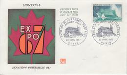 Enveloppe  FDC   1er  Jour    FRANCE    Pavillon  De  La   FRANCE   Exposition  Universelle   MONTREAL     1967 - 1960-1969