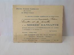 DH. 92. Invitation à La Soirée Dansante Par La Jeune Garde Libérale De Péruwelz à L'avenir Palace. Vers 1936 - Documents Historiques