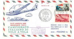 ITALIA - CAMPIONATO ITALIANO DI VOLO A VELA - AEROPORTO DI RIETI ANNO 1969 - RIETI - FOLIGNO  - ALIANTE CANGURO - 1961-70: Storia Postale