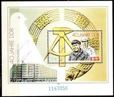 DDR - Mi Block 100 = 3283 - ** Postfrisch (056) - 135Pf   40 Jahre DDR - [6] Oost-Duitsland
