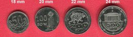 UZBEKISTAN: New 2018 Regular 4 Coins Set 50/100/200/500 SOUM SUM UNC - Ouzbékistan