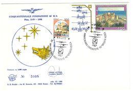 CINQUANTENNALE FONDAZIONE 46° B/A - PISA  ANNO 1990 - IN OMAGGIO CARTOLINE E ERINNOFILO - 1981-90: Storia Postale