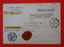 RARE Enveloppe Viguerie Française En Andorre Franchise Postale Gendarmerie Nationale & Sceaux Cachets De Cire 66 P-O - Documents