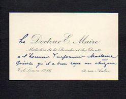 Carte De Visite 1933 Du Docteur E. Maire Maladies De La Bouche Et Des Dents Rue Auber Paris - Cartes De Visite