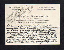 Carte De Visite 1931 Emile Auger Joalier,Orfèvre,Président Du Comité Croix Rouge Française Rue Etienne Marcel  Paris - Cartes De Visite