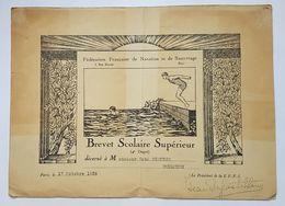 BREVET SCOLAIRE SUPERIEUR 4° DEGRE - TOULOUSE - 1936 - FEDERATION FRANCAISE DE NATATION ET DE SAUVETAGE - Diplômes & Bulletins Scolaires