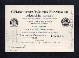 Carte De Visite Publicitaire Cie Lincrusta-Walton Française & Loreïd Réunis Tentures,Linoléum. Rue De La Pépinière Paris - Visiting Cards