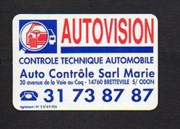 """Carte De Visite Publicitaire """"Autovision """" Contrôle Technique Automobile à Bretteville Sur Odon 14 - Visiting Cards"""