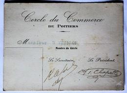 Carte De Membre Cercle Du Commerce De Poitiers Années 30 Veillon - Cartes De Visite