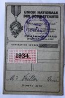 Carte De Membre Union Natonale Des Combattants UNC Timbre 1934 Veillon Poitiers - Documents