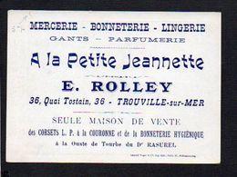 """Image Publicitaire """"A La Petite Jeannette"""" E. Rolley,Mercerie,Bonneterie,etc Trouville Sur Mer ( Verso Mr Fugère Opéra.. - Other"""