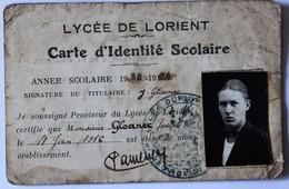 Carte D'identité Scolaire Lycée Dupuy De Lome Lorient 1935 1936 J. Gloanec - Diplômes & Bulletins Scolaires