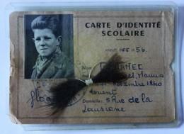 Carte D'identité Scolaire + Mèche De Cheveux Lycée Dupuy De Lome Lorient 1955 1956 Georges Gloanec Proviseur Belbenoit - Diplômes & Bulletins Scolaires