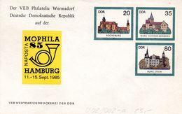 """(FC5) DDR Privatganzs.-Umschlag  PU U02/002-a""""Burgen Und Schlösser M.ZD Zur NAPOSTA MOPHILA'85"""" Ungebraucht - [6] Repubblica Democratica"""
