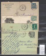Lettre Avec Cachet Convoyeur Bernay à Cormeilles - à Echauffour - à Mantes Et Retour  - 4 Piéces - Marcophilie (Lettres)