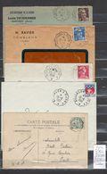 Lettre Avec Cachet Convoyeur Besançon à Dijon   - 5 Piéces - Cachets Différents - Postmark Collection (Covers)