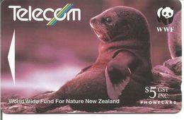 Télécarte De NOUVELLE ZELANDE - OTARIE PHOQUE 5$ ( Sigle Panda WWF ) - Non Classés