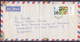 Kenya Air Mail 1995 Cover Brief ODENSE S. Denmark Water Projects W. Margin Stamp - Kenya (1963-...)