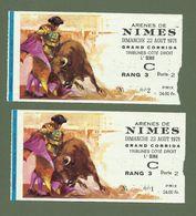 LOT 2 BILLETS CORRIDA ARENES DE NIMES DIMANCHE 22 AOUT 1971 - Tickets D'entrée