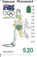 Télécarte D'AUSTRALIE - Jeux Olympiques De Barcelone 1992 - Le MARATHON 20$ - Jeux Olympiques