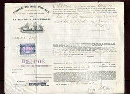 Connaissement Par Steamers Suédois Entre Le Havre Et Stockholm En 1882 - Vieux Papiers