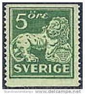ZWEDEN 1920-34 5õre Staande Leeuw Groen Type II Tanding 13  WM / PF-MNH-NEUF - Neufs