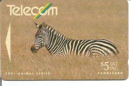 Télécarte De NOUVELLE ZELANDE - Animal Series 1991 - LE ZEBRE 5$ - Sin Clasificación