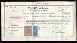 Vieux Papiers - Reçu De La Cie Westchester En 1926 , Fiscal Belge Et Français - 1900 – 1949