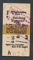 GERMANY QY4589 3kl Eilzugzuschlag Hamburg Dammtor Zone I 1951 Fahrkarte Billet Ticket - Chemins De Fer