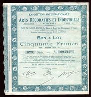 Vieux Papiers - Bon à Lot De L 'Exposition Des Arts Décoratifs De Paris En 1925 - Collezioni