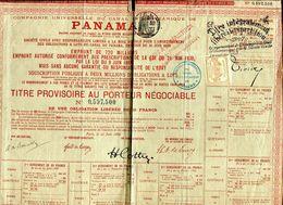 Vieux Papiers - Titre Provisoire Au Porteur Du Canal De Panama - Actions & Titres