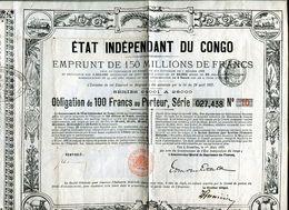 Vieux Papiers - Obligation D 'emprunt De L 'Etat Du Congo En 1888 - Actions & Titres