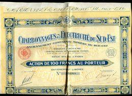 Vieux Papiers - 3 Actions De 100 Francs Des Charbonnages Et Électricité Du Sud Est - A - C