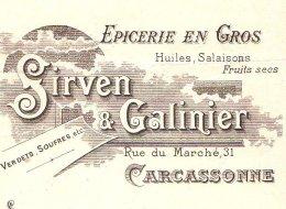 SIRVEN & GALINIER   Epicerie En Gros   CARCASSONNE  (Aude)  1908 Illustration ART NOUVEAU - Bills Of Exchange