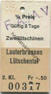 Schweiz - Zweilütschinen Lauterbrunnen Lütschental - Fahrkarte 1971 - Europe