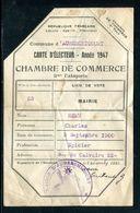 Vieux Papiers - Carte D 'électeur De La Chambre De Commerce De Auberchicourt En 1947 - Collections