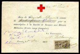 Vieux Papiers - Reçu De La Croix Rouge Française De Evreux En 1898 - Old Paper