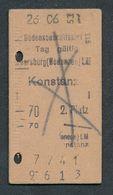 GERMANY QY4590 Bodenseeschiffahrt 2 Platz Meersburg Konstanz 1953 Fahrkarte Billet Ticket - Schiffstickets