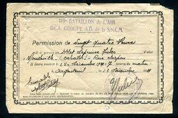 Vieux Papiers - Permission De 24h  De Argenteuil Pour Mondeville En Décembre 1939 - Documenti