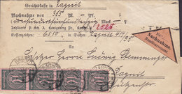 Germany Deutsches Reich NACHNAME Remboursement Label RAGNIT 1923 Cover Brief Locally Sent 4- & 5-Stripe Stamps (2 Scans) - Storia Postale