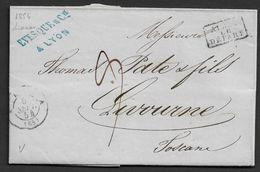 1854 LAC Lyon A Livorno, Italie - Apres Le Depart - Marcophilie (Lettres)