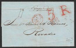 1846 LAC Toulouse Vers Rivadeo, Galicia Espagne - Marcofilia (sobres)