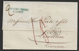 1854 LAC Marseille A Livorno, Italie Pars Antibes - Marcophilie (Lettres)