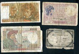 Billets - Lot De 4 Billets Français Tous états - Monnaies & Billets
