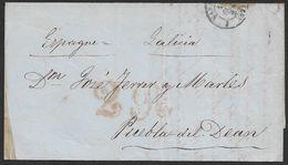 1854 LAC Marseille A Puebla Del Dean, Galicia, Espagne - Marcophilie (Lettres)