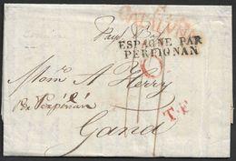 1828 Envuelta Barcelona A Gand, Holanda - ...-1850 Prefilatelia