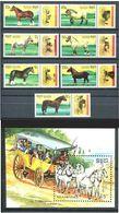 KAMPUCHEA 1989 - CABALLOS - YVERT Nº 878A-878G + HB 70A** - HORSES - CHEVAUX - Kampuchea