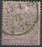 NDP 1/4 Gr Freimarke, Michel 13, Gestempelt (1-601) - Norddeutscher Postbezirk