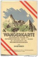 111 Dornbirn 1953 - Wanderkarte Mit Umschlag - Provisorische Ausgabe Der Österreichischen Karte 1:50.000 - Herausgegeben - Mapamundis