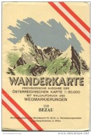 112 Bezau 1953 - Wanderkarte Mit Umschlag - Provisorische Ausgabe Der Österreichischen Karte 1:50.000 - Herausgegeben Vo - Maps Of The World